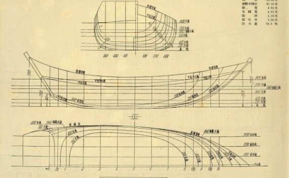 三角艇的缩略图、线型图、结构图、帆装图、剖面图